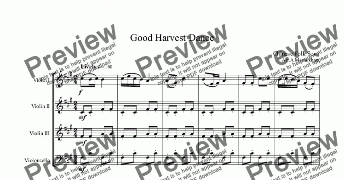 Good Harvest Dance - Chinese Folk Song for String quartet by trad  - Sheet  Music PDF file to download