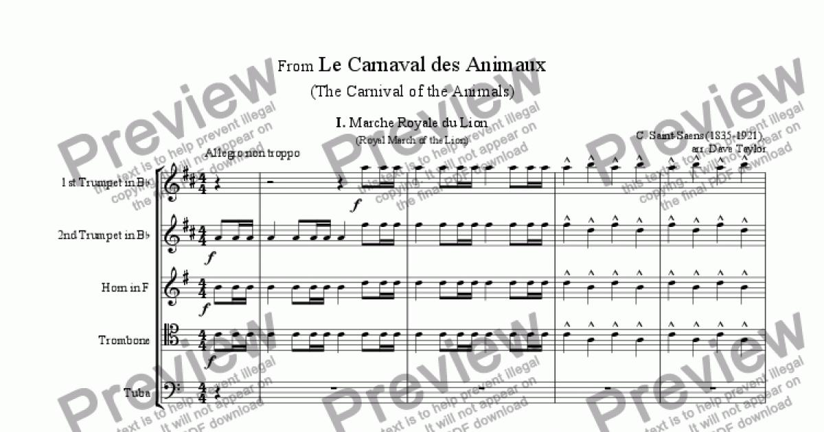 From 'Carnival of the Animals' (brass quintet) for Brass quintet by Camille  Saint-Saens - Sheet Music PDF file to download