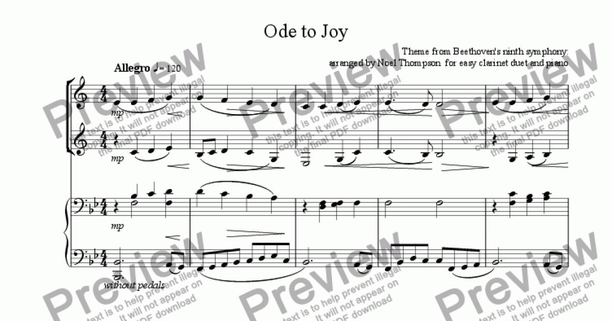 Ode to Joy for easy clarinet duet and piano for Solo Clarinet in Bb + piano  by Theme from Beethoven' ninth symphony: arranged by Noel Thompson for