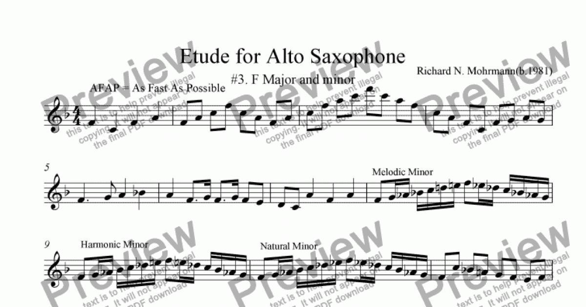 Etude For Alto Saxophone 3 F Major And Minor Sheet Music Pdf File