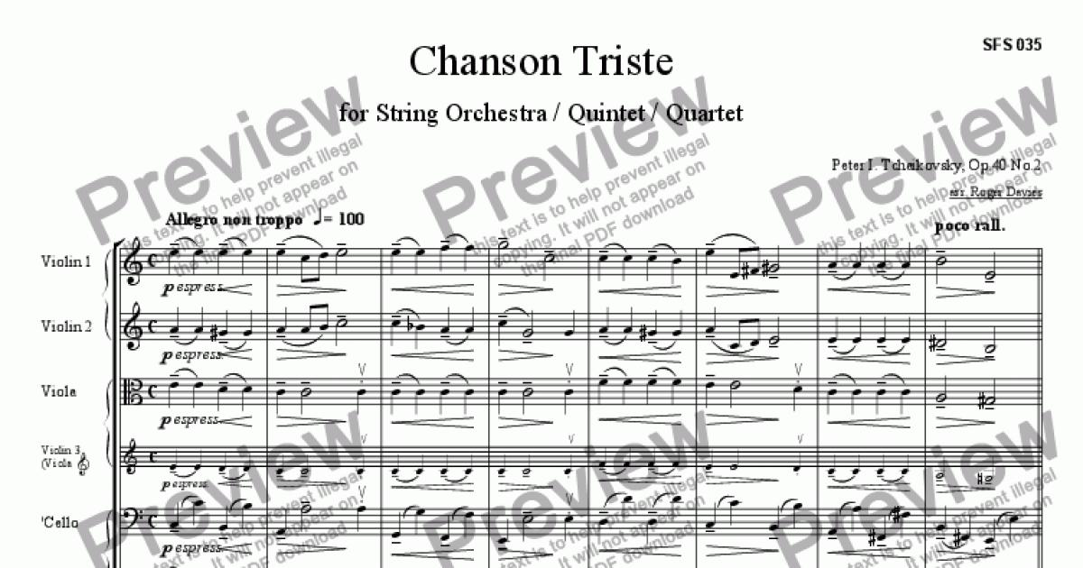 Chanson Triste Op40 No2 For String Quartet By Peter I Tchaikovsky Sheet Music Pdf File To Download