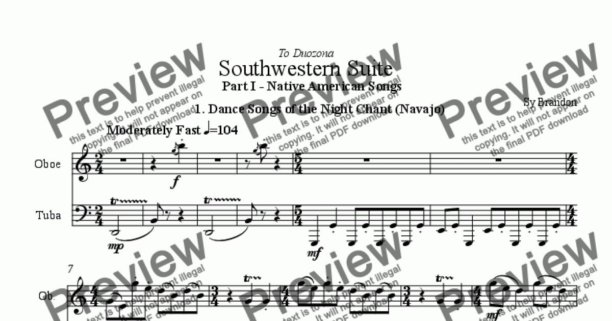 Southwestern Suite for Oboe and Tuba - Part I - Native American Songs for  Duet by trad  - Sheet Music PDF file to download