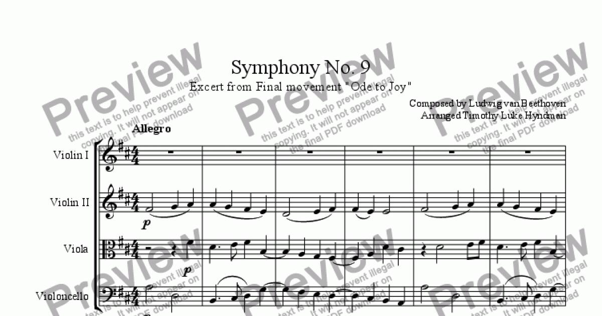 Symphony No  9, excerpt from 4th movement (Ode to Joy) for String quartet  by Ludwig van Beethoven - Sheet Music PDF file to download