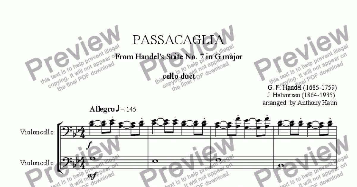 Handel-Halvorsen Passacaglia Cello Duet for Duet of Solo Violoncellos by G   F  Handel - Sheet Music PDF file to download