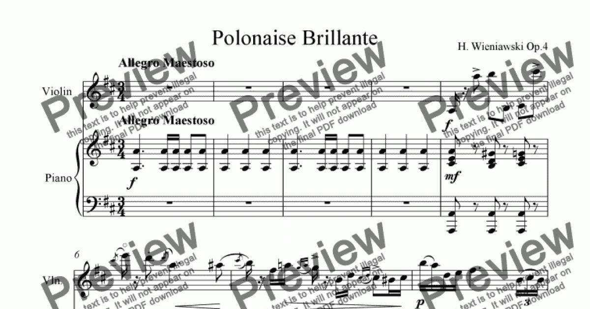 Wieniawski Polonaise Brillante No 1 Op 4 Download Sheet Music Pdf