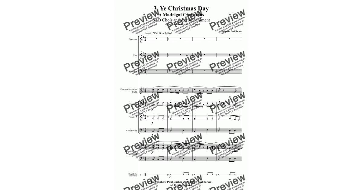A Madrigal Christmas: 3 Ye Christmas Time - Download Sheet Music PDF