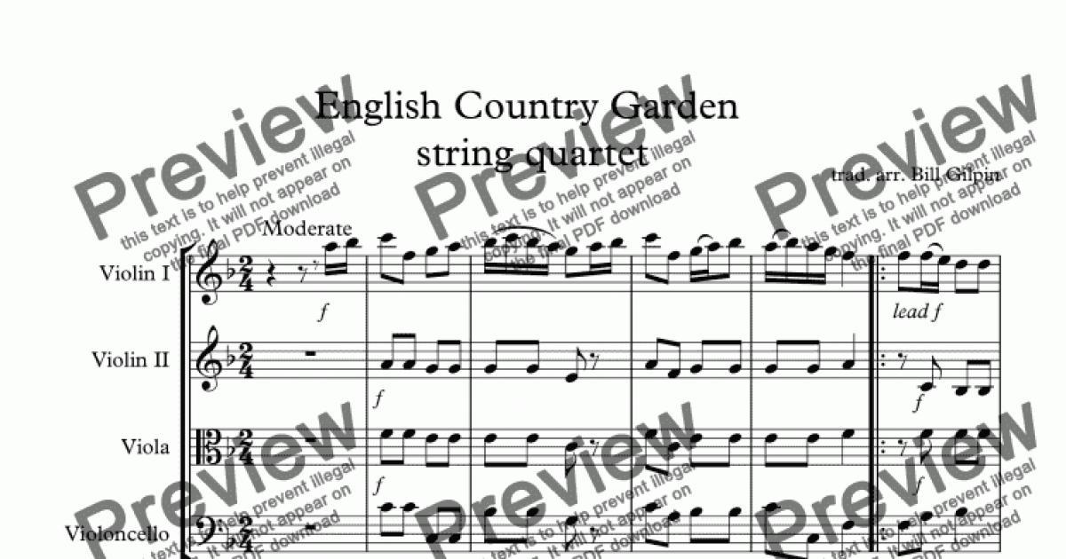 english country garden string quartet download sheet. Black Bedroom Furniture Sets. Home Design Ideas