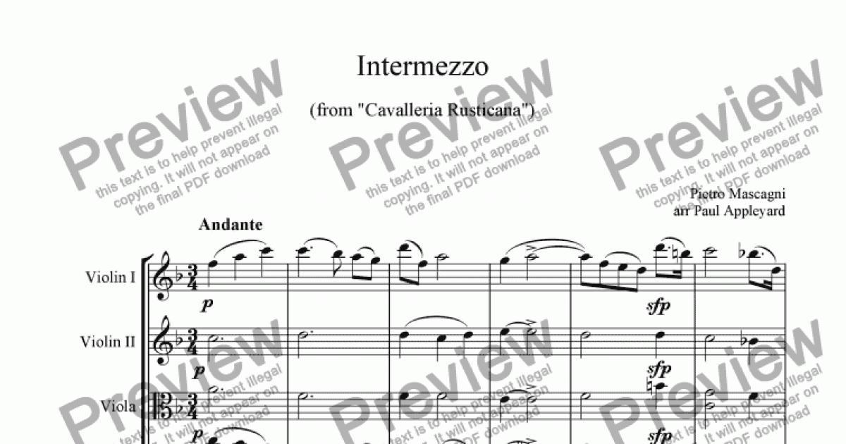 intermezzo cavalleria rusticana sheet music pdf