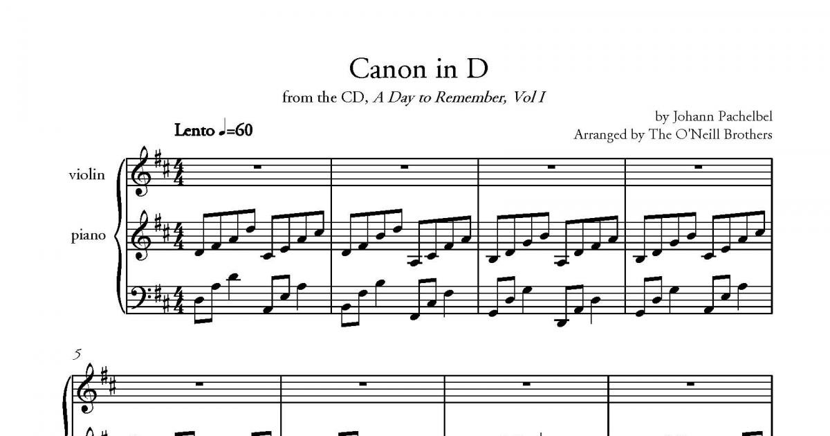 piano accompaniment part from Canon in D from the CD, A Day to ...