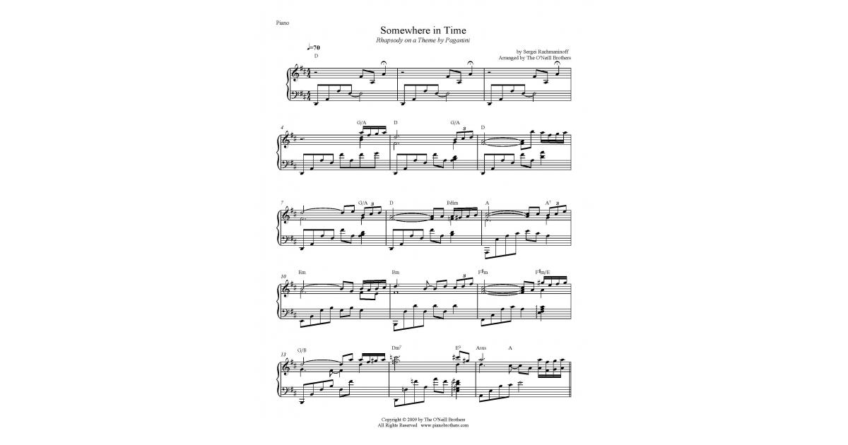 All Music Chords somewhere in time sheet music : Somewhere in Time Rhapsody on a Theme by Paganini - Buy PDF