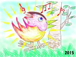Cover art for Piano part from 3)  Rainbow colored birds prayed