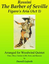 Cover art for Clarinet in B^b part from Rossini: Figaro's Aria from The Barber of Seville Act 1 For Woodwind Quintet