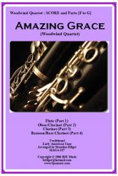 Cover art for Bass Clarinet in B^b^ (Part 4) part from Amazing Grace - Woodwind Quartet