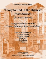 "Cover art for Trumpet 1 in Bb part from Handel - ""Glory To God in the Highest"" - (from Messiah) (for Brass Quintet)"