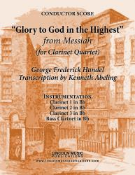 "Cover art for Clarinet 2 in Bb part from Handel - ""Glory To God in the Highest"" - (from Messiah) (for Clarinet Quartet)"