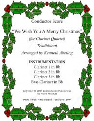 Cover art for Clarinet 2 in Bb part from Jazz Christmas Carol - We Wish You A Merry Christmas (Clarinet Quartet)