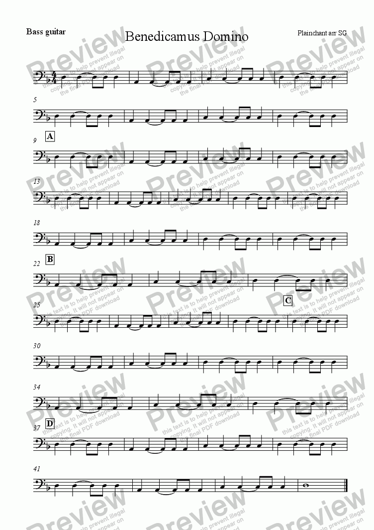 page one of the Bass part from Benedicamus Domino