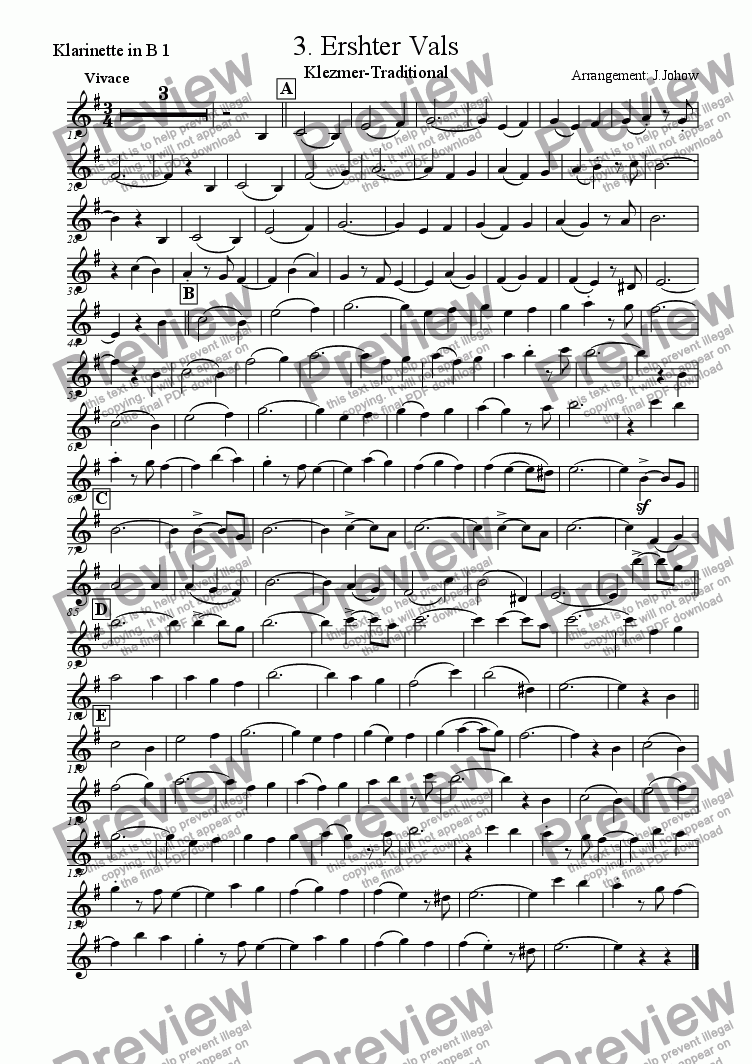 page one of the 1. Cl B part from My Klezmer Book 03 (Erster Vals)