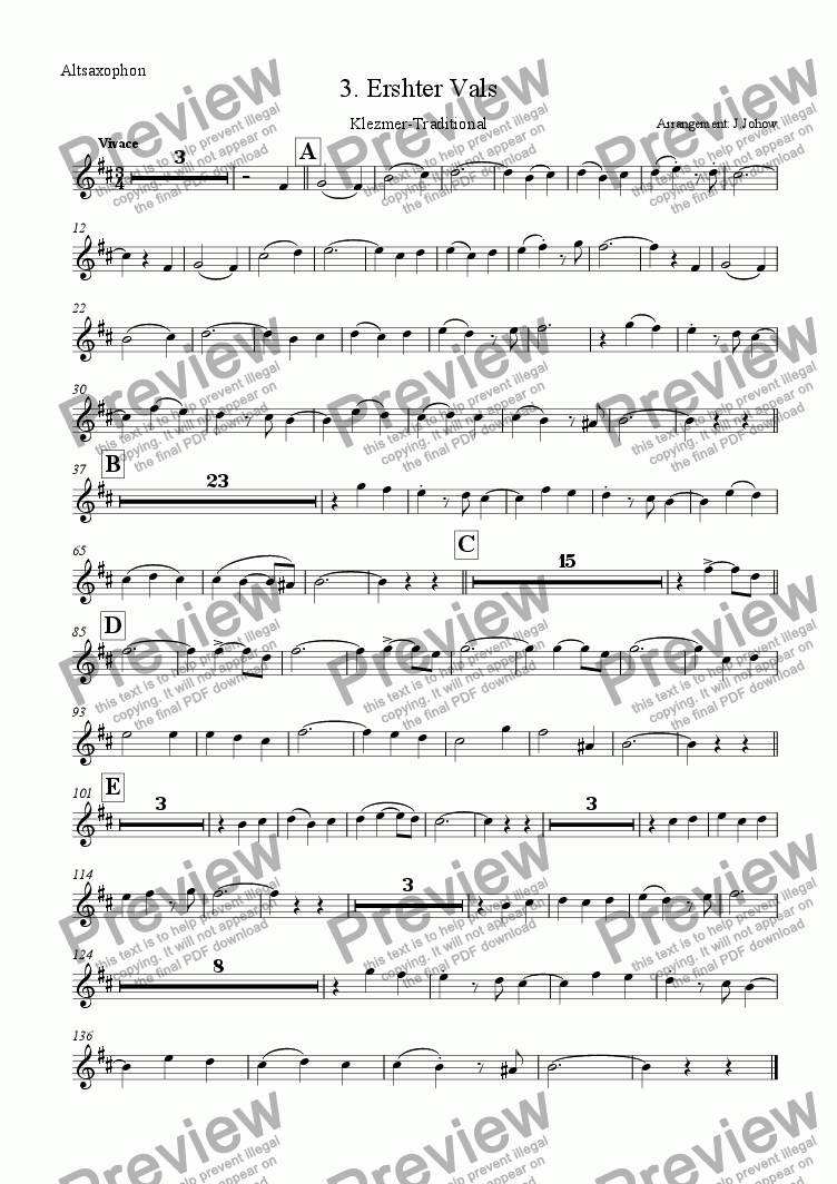 page one of the AltSax part from My Klezmer Book 03 (Erster Vals)