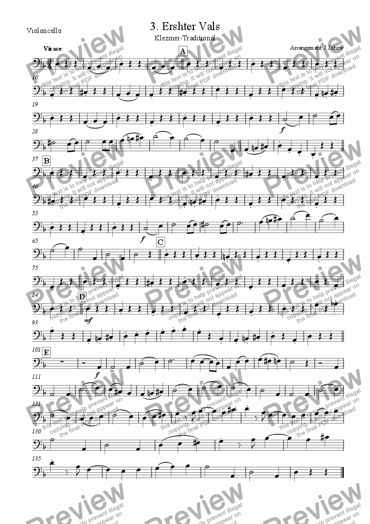page one of the Vlc part from My Klezmer Book 03 (Erster Vals)