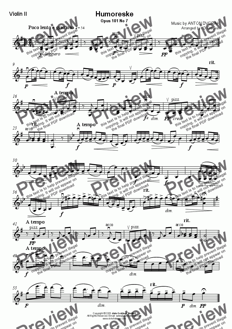 page one of the Violin II part from Humoreske