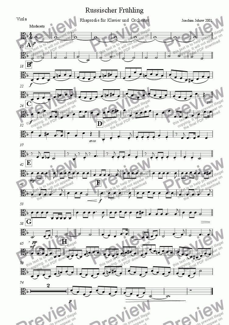 page one of the Vla part from Russian Spring (Rhapsody for piano and orchestra)