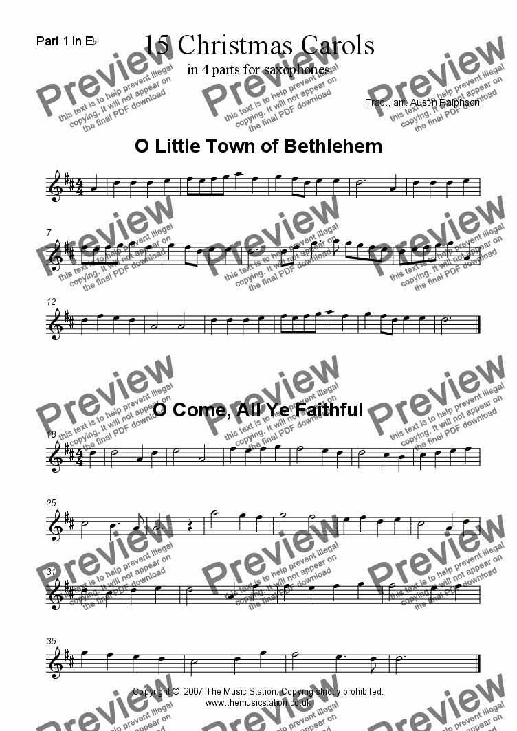 page one of the Part 1 in Eb part from 15 Christmas Carols for saxophone quartet
