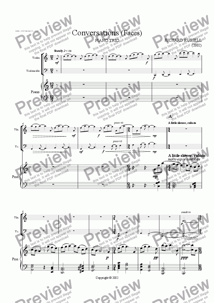 page one of the Violin part from Conversations (Faces)