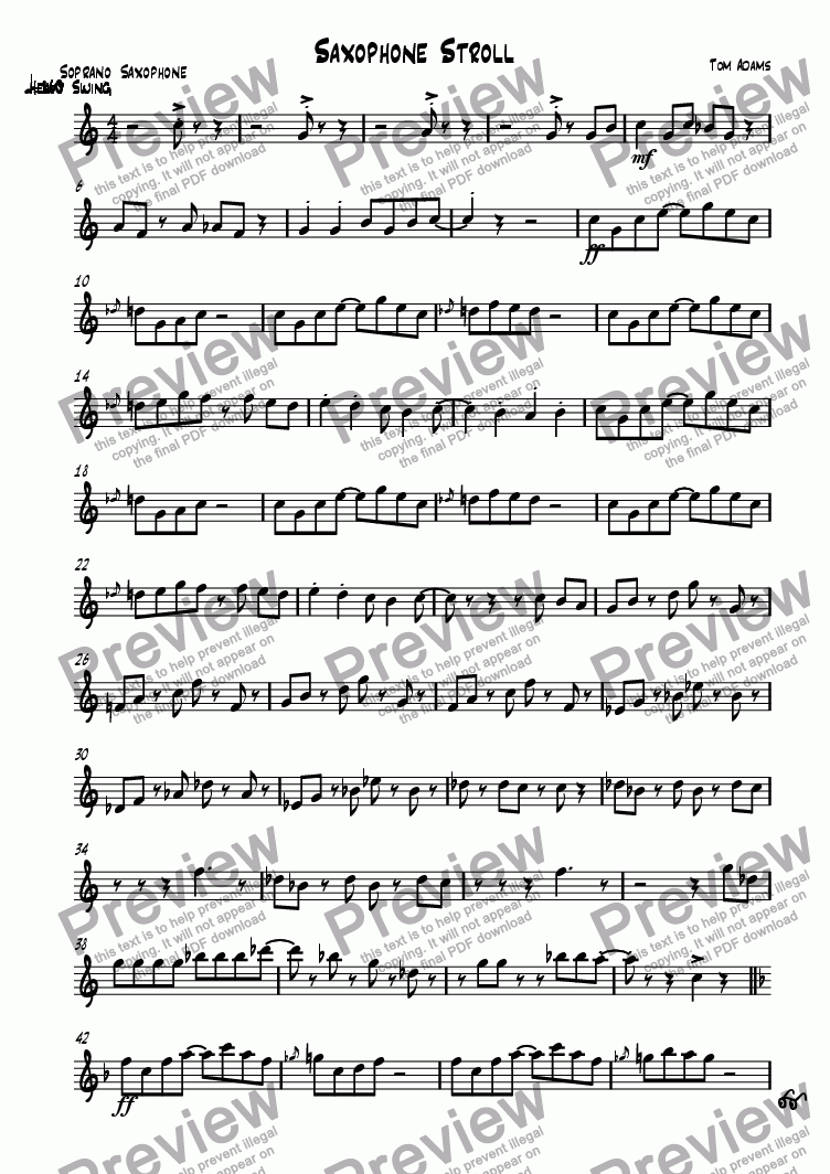 page one of the Soprano Saxophone part from Saxophone Stroll