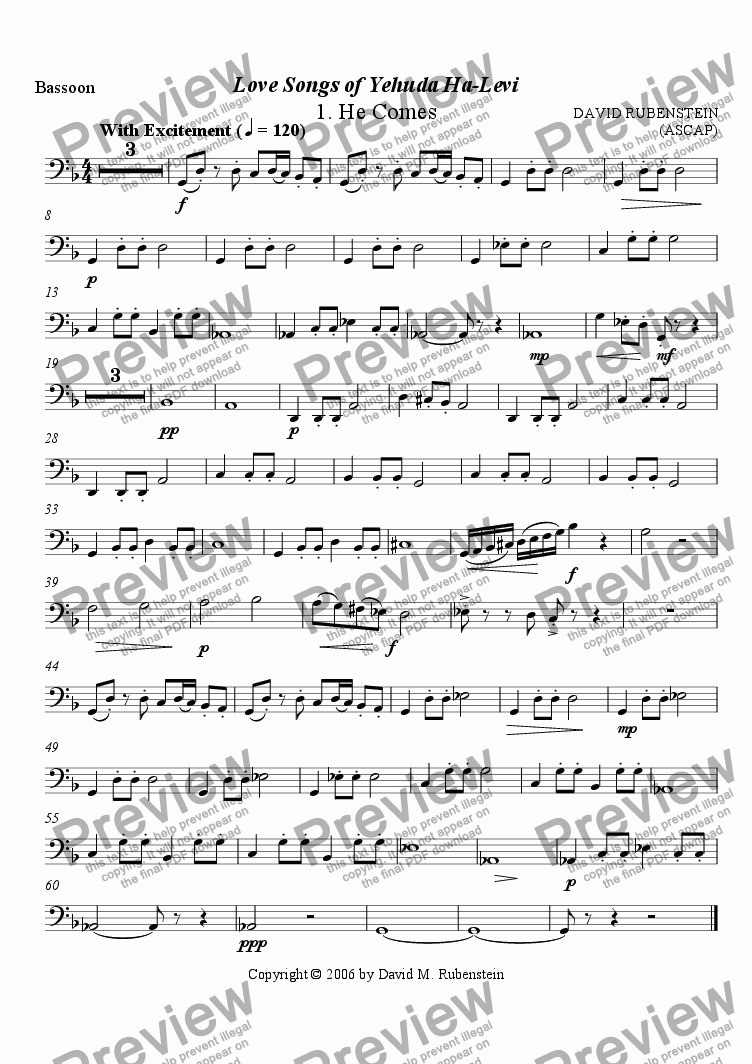 page one of the Bassoon part from Love Songs of Yehuda Halevi