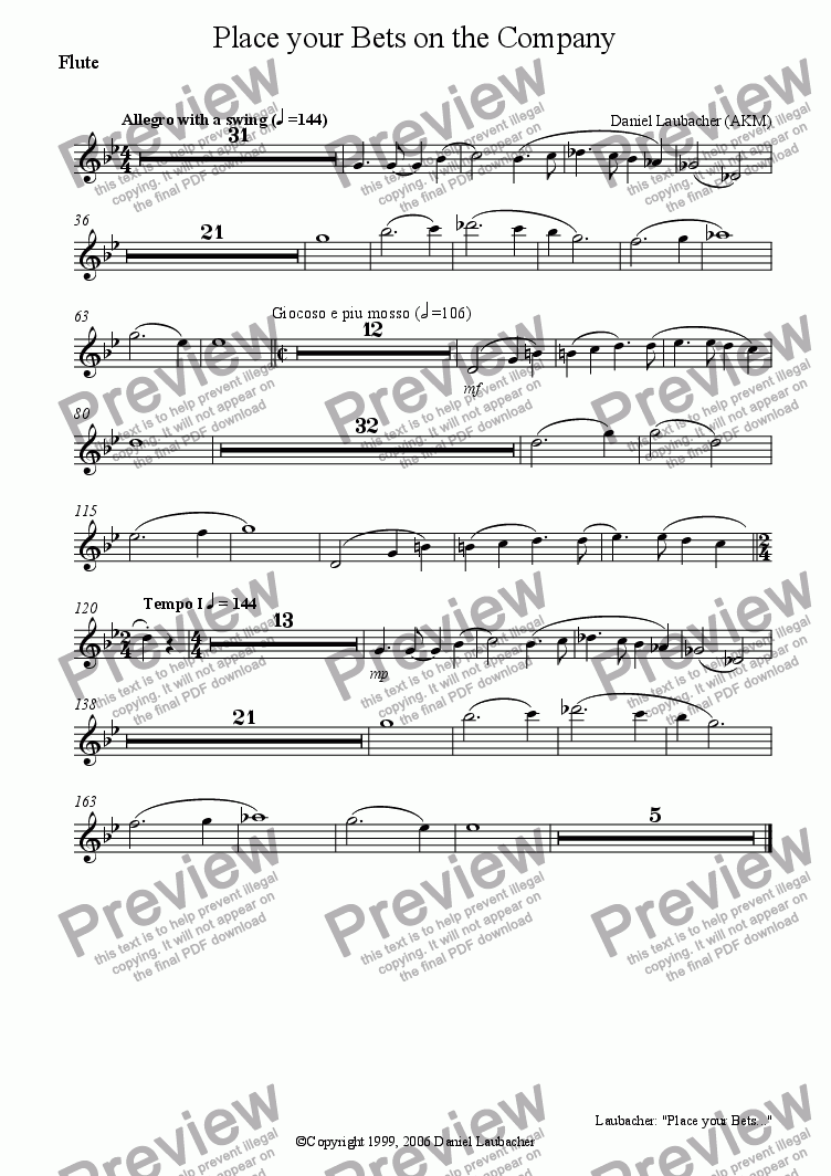 "page one of the Flute part from PLACE YOUR BETS ON THE COMPANY from the Musical ""Company Policy"""