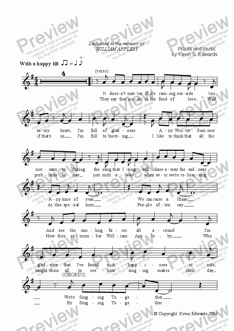 page one of the Voice part from Singing Together