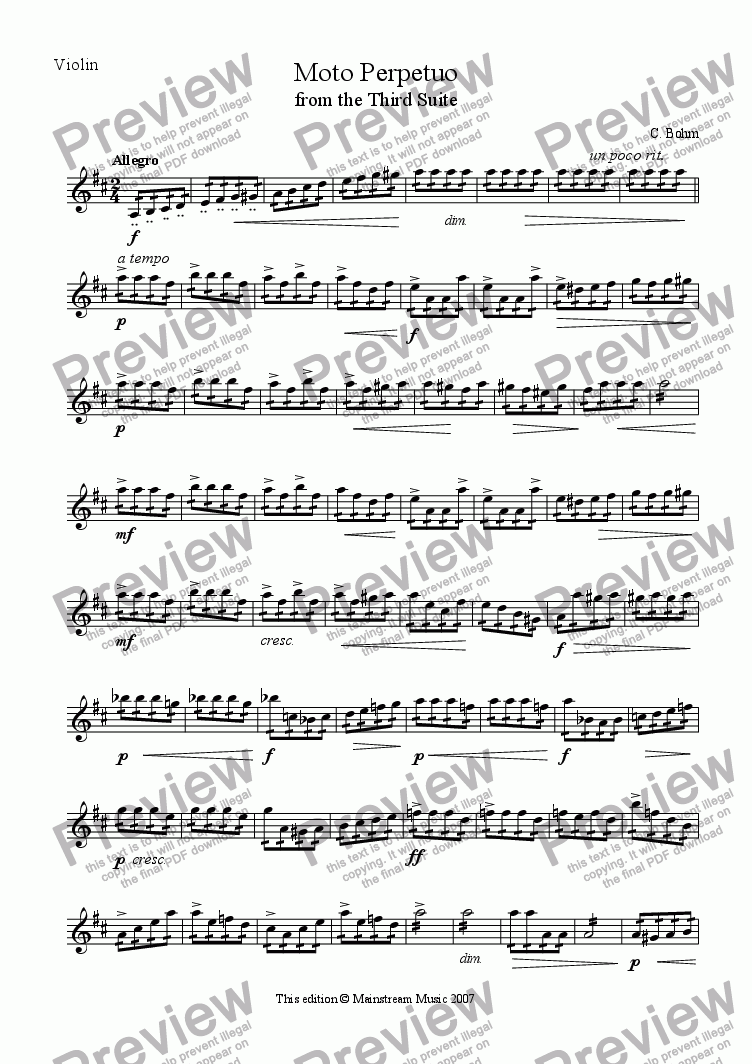page one of the Violin part from Moto Perpetuo