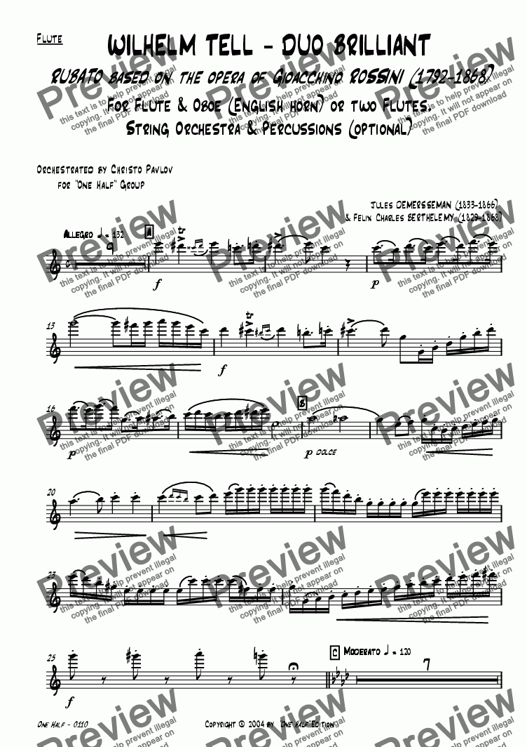 "page one of the Solo Flute part from Rossini - ""WILHELM TELL - DUO BRILLIANT"" for Flute, Oboe & String orchestra"
