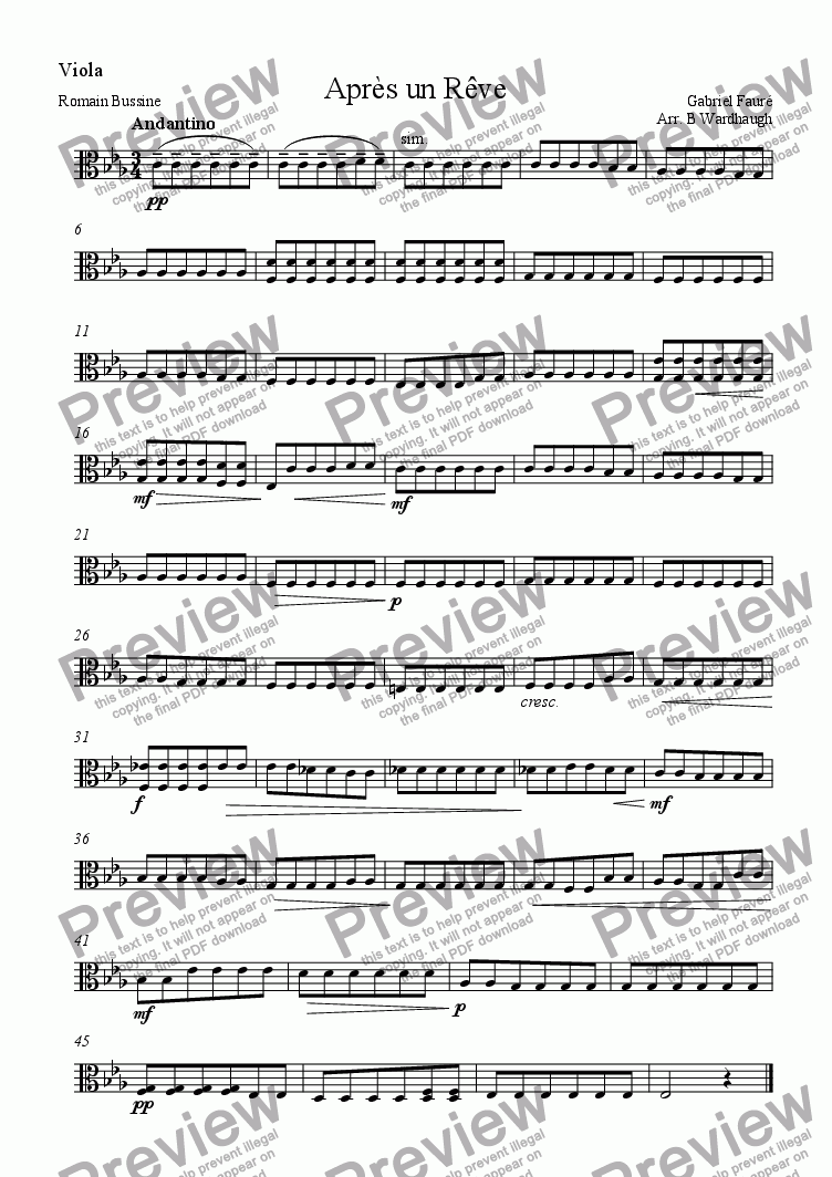 page one of the Viola part from Apr�s un R�ve