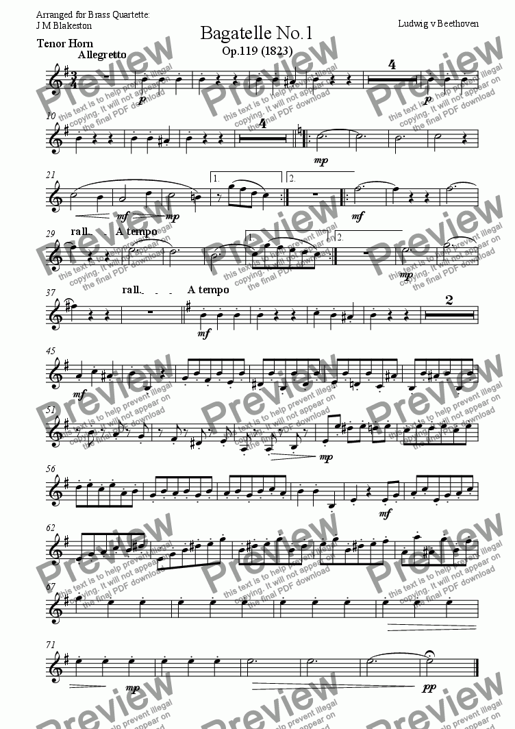 page one of the Eb Tenor Horn part from Bagatelle (Brass Quartette)