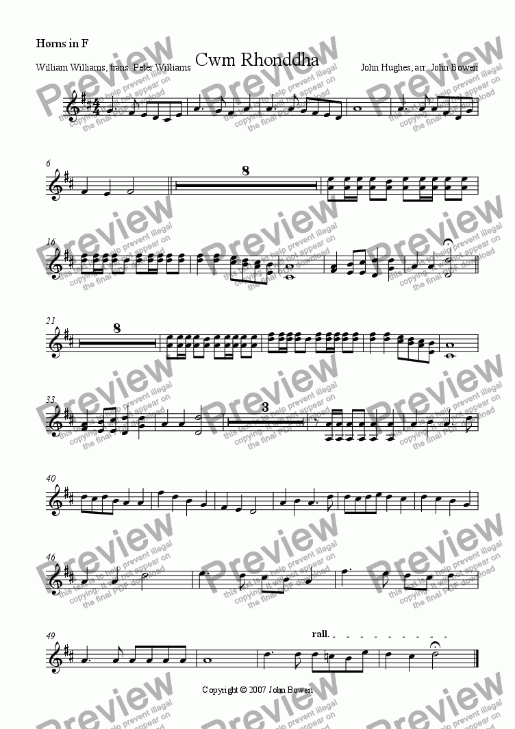 page one of the Horns in F part from Guide me, O thou great redeemer (Cwm Rhondda)