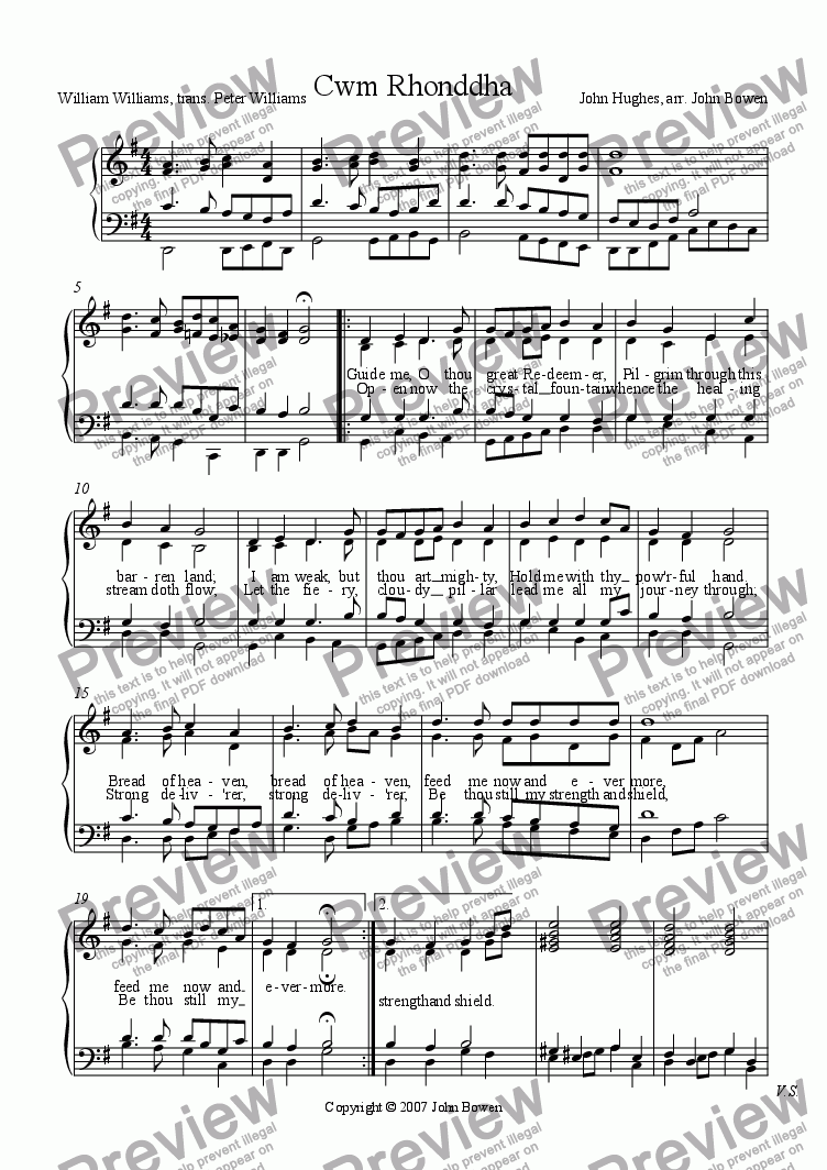 page one of the Organ with voices part from Guide me, O thou great redeemer (Cwm Rhondda)