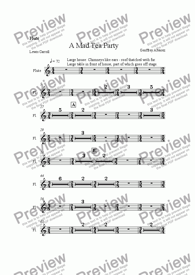 page one of the Piccolo/Flute part from A Mad Tea Party