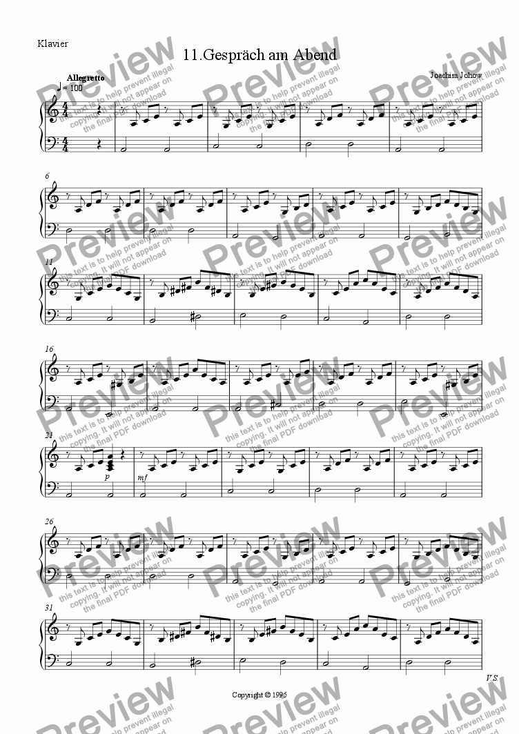page one of the Piano part from Little Rounds 11 (Folk Round 3)