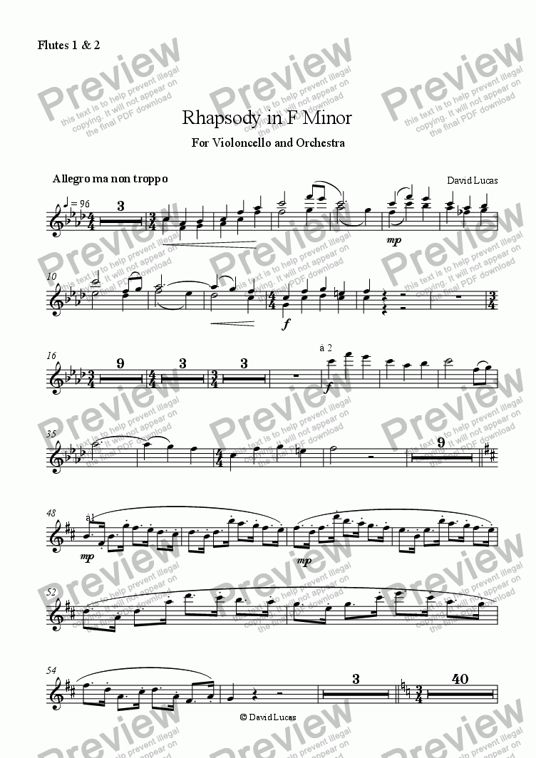 page one of the flutes 1+ 2 part from Rhapsody in F Minor for Violoncello and Orchestra
