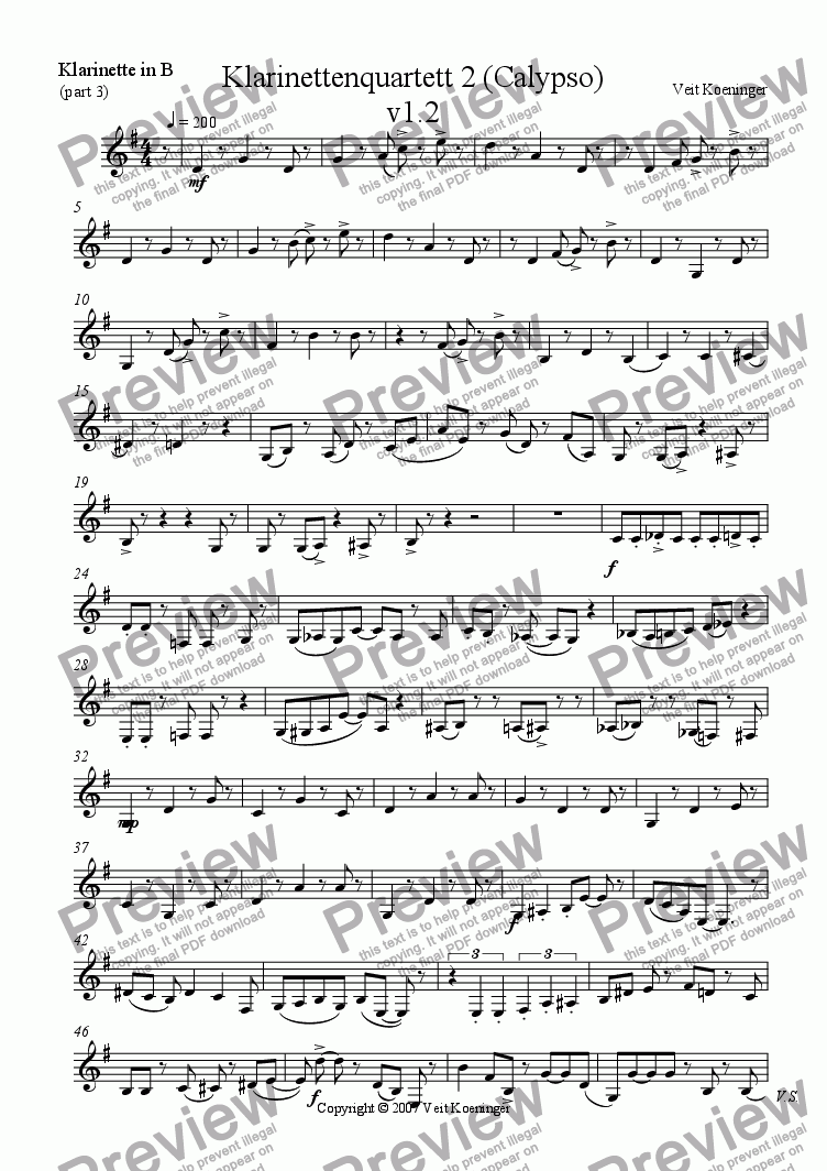 page one of the clarinet 3 part from Clarinet quartet 2 (Calypso)