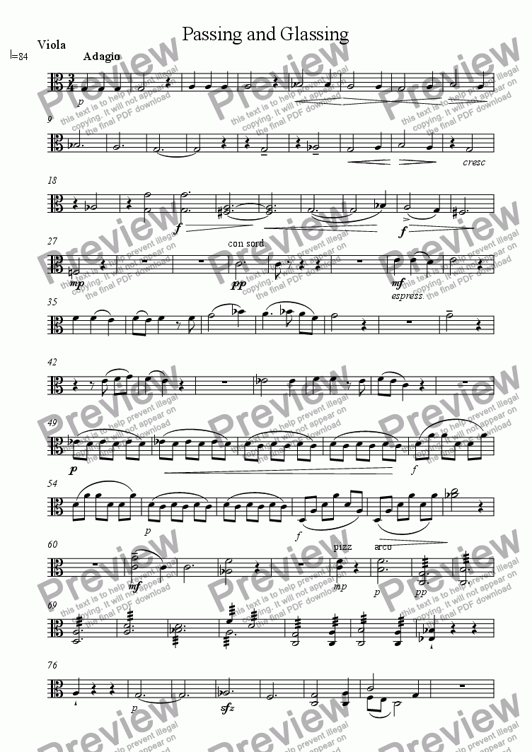 page one of the Viola part from Passing and Glassing