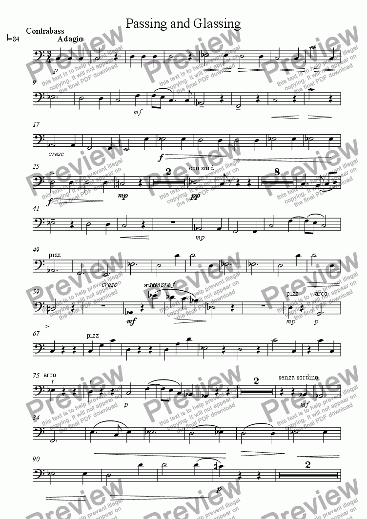 page one of the Contrabass part from Passing and Glassing