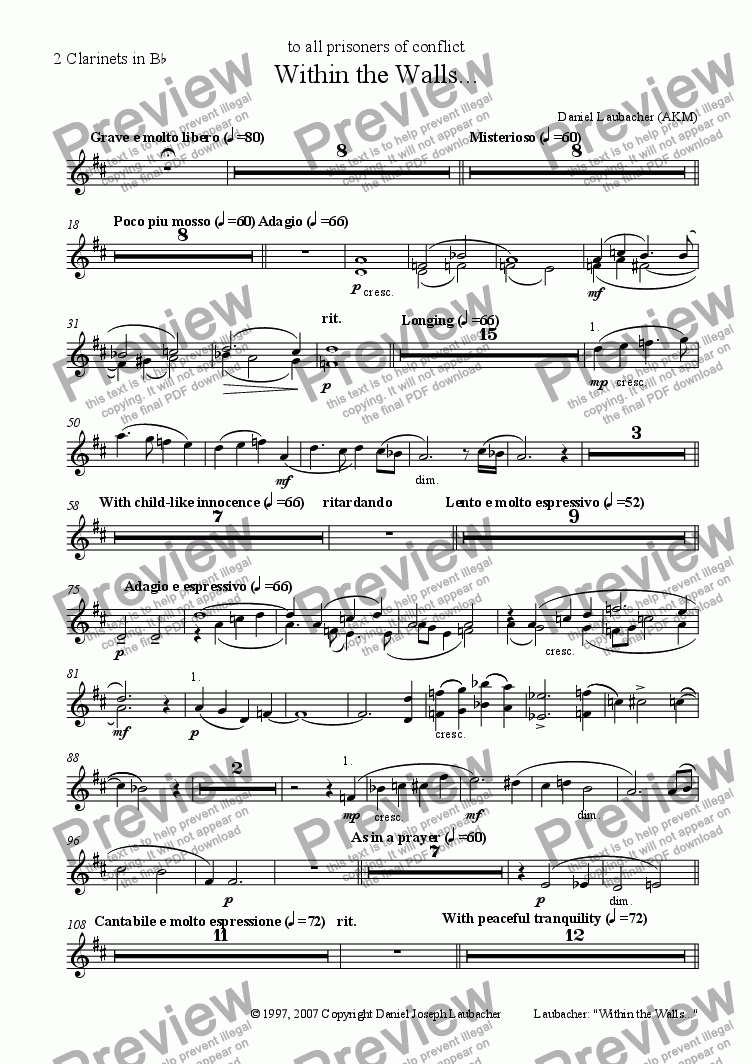 page one of the 2 Clarinets in Bb part from Within the Walls (for Soloists, Children's Choir, Orchestra)