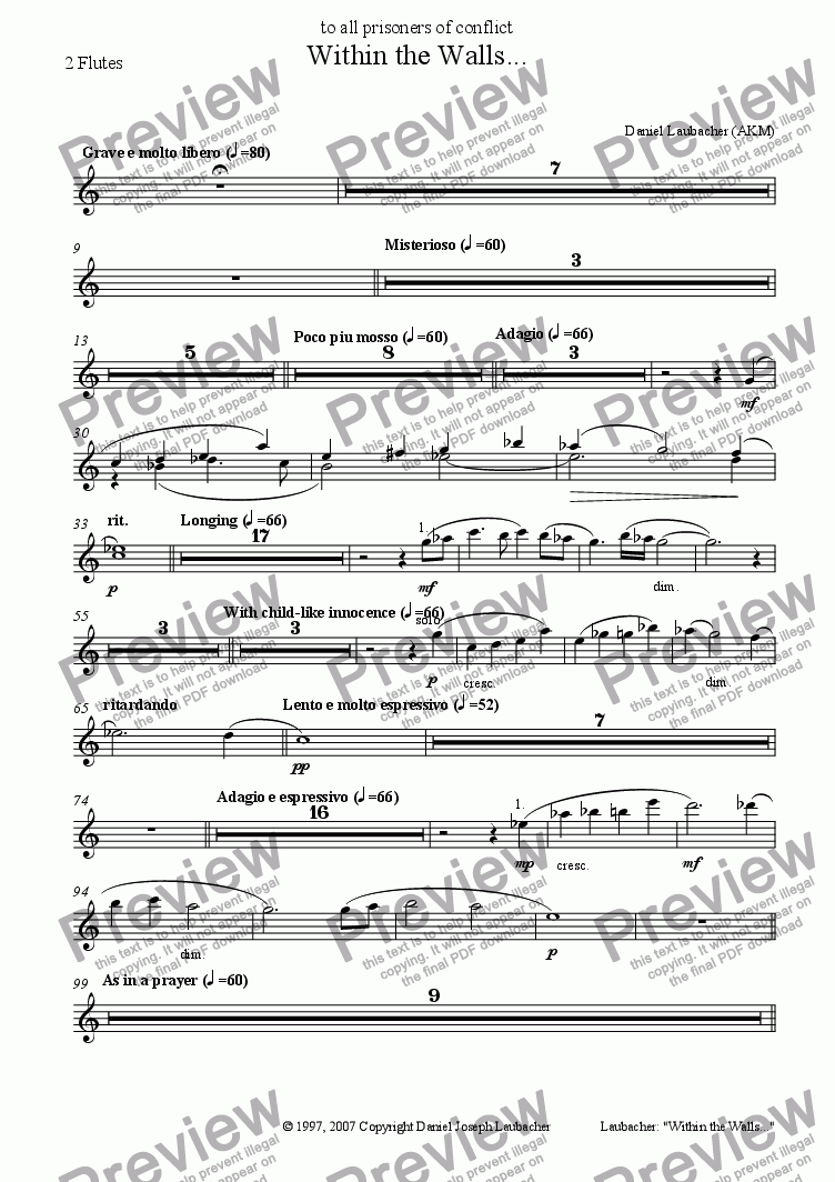 page one of the 2 Flutes part from Within the Walls (for Soloists, Children's Choir, Orchestra)