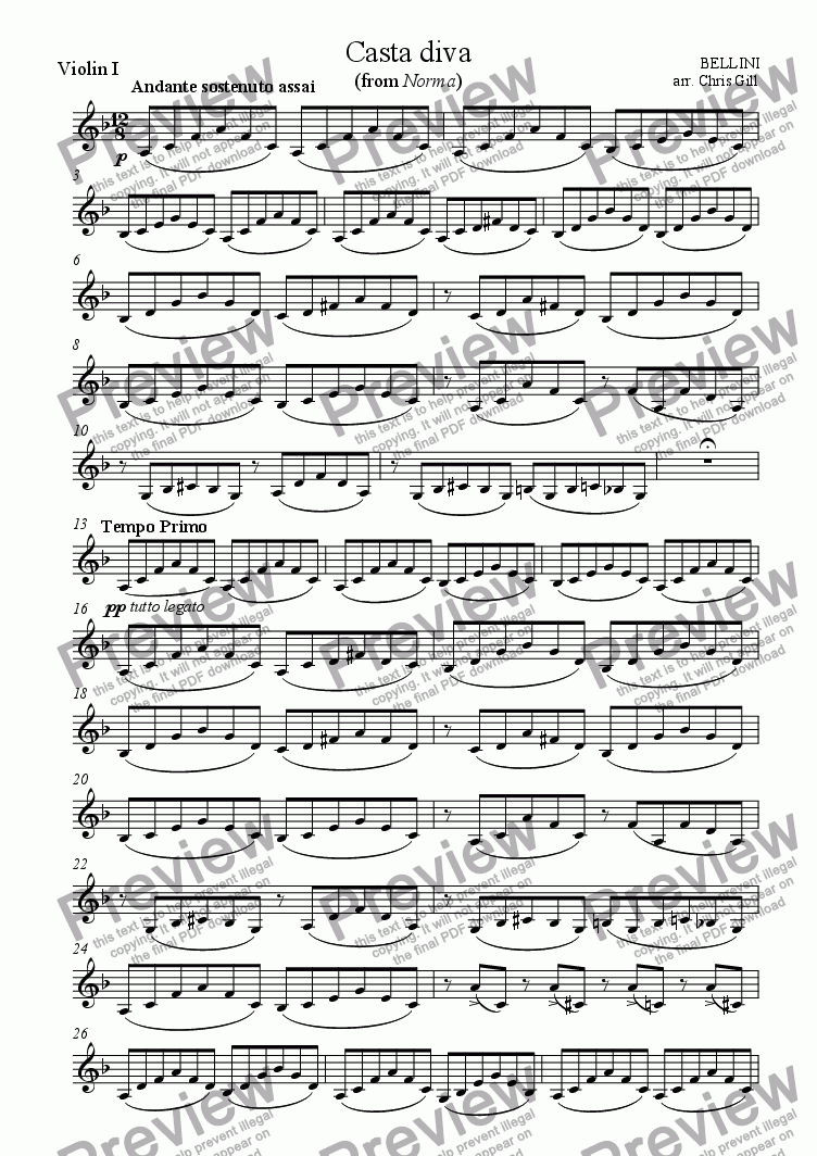 page one of the Violin I part from Casta Diva (from Norma) arranged for soprano, optional choir and small orchestra
