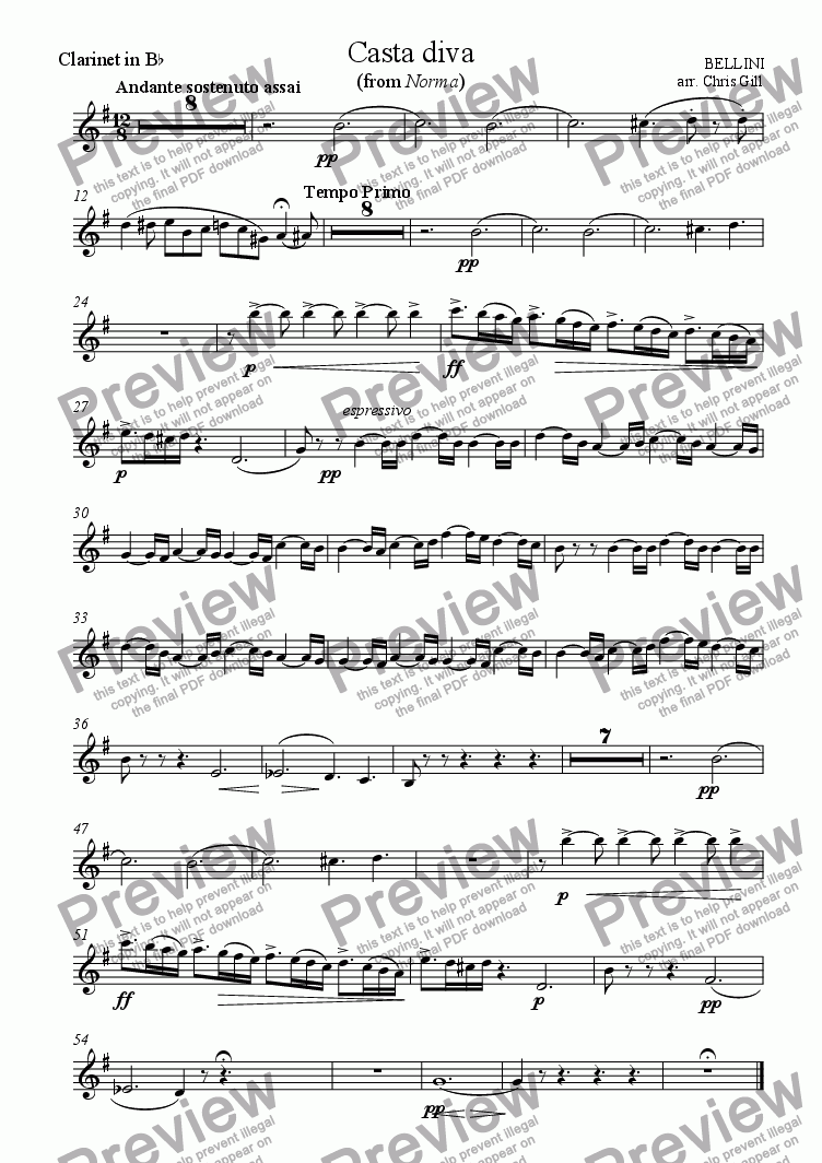page one of the Clarinet in Bb part from Casta Diva (from Norma) arranged