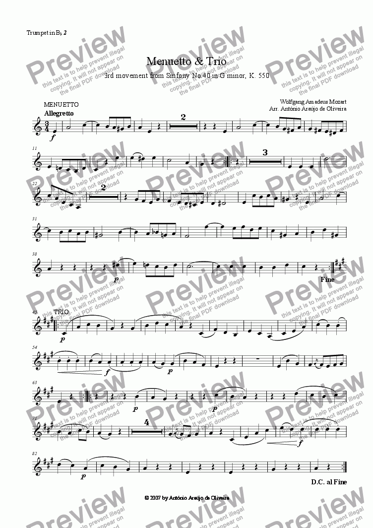 page one of the Trumpet in Bb 2 part from Menuetto and Trio from Sinfony No.40