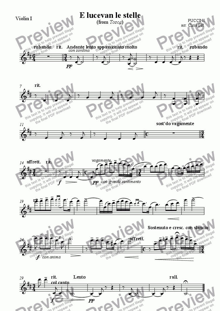 page one of the Violin I part from E lucevan le stelle (from Tosca) arranged for tenor and small orchestra